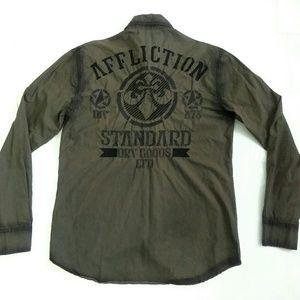 Affliction Black Premium Button Front Shirt Large
